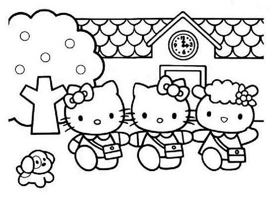 Dibujo Salida del colegio de Hello Kitty
