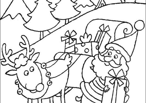 Dibujo Santa Claus preparando los regalos
