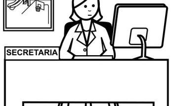 Dibujo Dibujo de secretaria mirando su ordenador