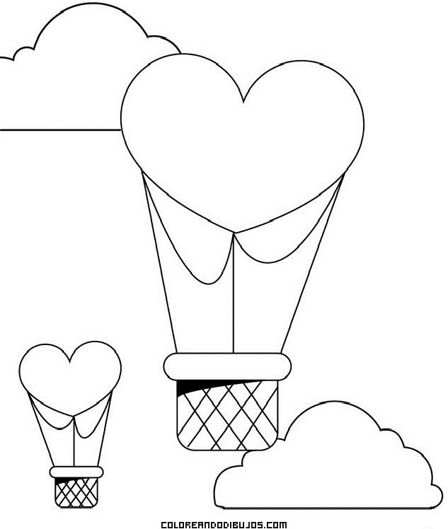 Globos Con Forma De Corazón Dibujos Para Colorear