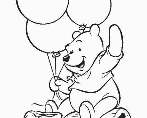 Winnie Pooh Jugando Con Globos Dibujos Para Colorear