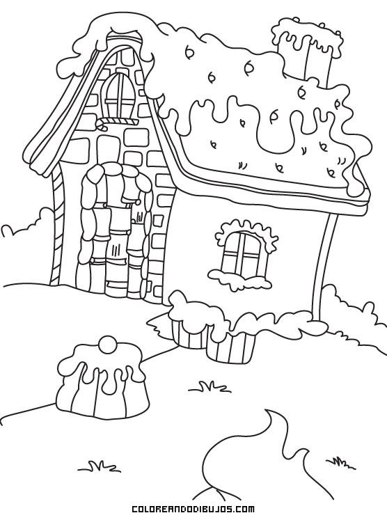 Casita De Caramelo Y Chocolate Dibujos Para Colorear